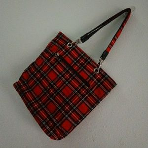 Red Plaid Day Satchel by Fashion Express